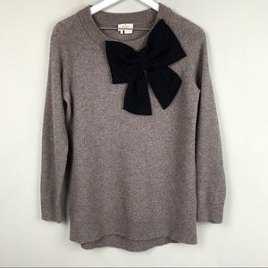 KATE SPADE Taupe Gray Wool Bow Sweater Pullover